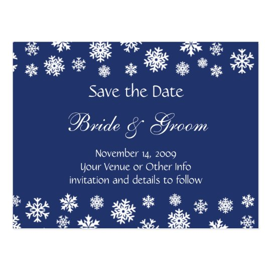 Personalised Snowflakes Save the Date Postcard