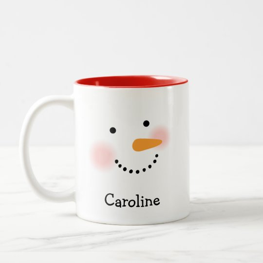 Personalised Snowman Face Coffee Mug for Her