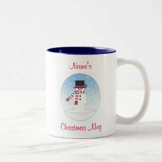 personalised snowman Two-Tone coffee mug