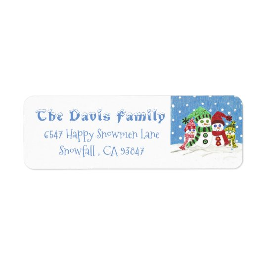 Personalised Snowmen family return address labels