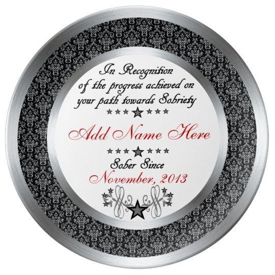 Personalised Sobriety Recognition & Award Plate Porcelain
