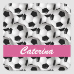 Personalised Soccer Ball Pattern Pink Square Stickers