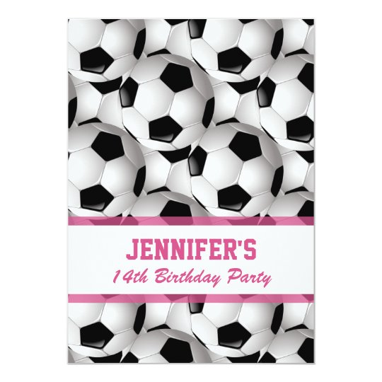 Personalised Soccer Ball Pattern v3 Pink Birthday Card