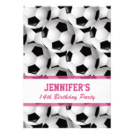 Personalised Soccer Ball Pattern v3 Pink Birthday Personalised Invites