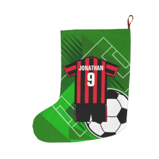 Personalised Soccer Jersey Red and Black Stripes