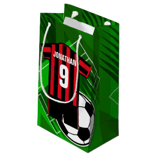 Personalised Soccer Jersey Red and Black Stripes Small Gift Bag