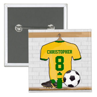 Personalised soccer jersey yellow green 15 cm square badge