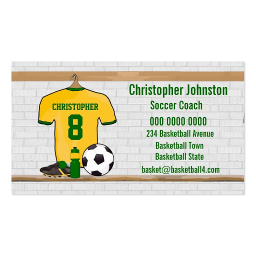 Collections of award business cards personalised soccer jersey yellow green business card templates reheart Image collections