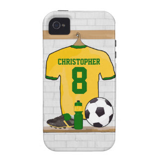 Personalised soccer jersey yellow green vibe iPhone 4 cover