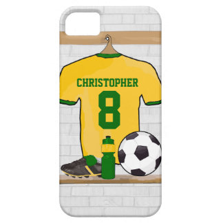Personalised soccer jersey yellow green iPhone 5 cases