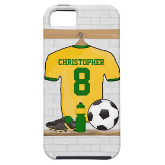 Personalised soccer jersey yellow green iPhone 5 case