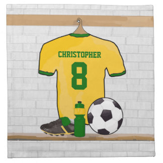 Personalised soccer jersey yellow green printed napkin