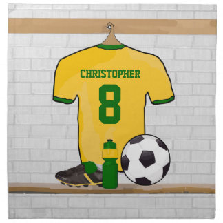Personalised soccer jersey yellow green napkins