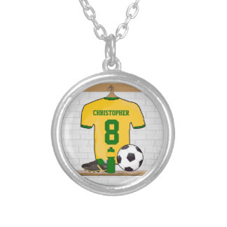 Personalised soccer jersey yellow green jewelry