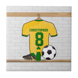 Personalised soccer jersey yellow green small square tile