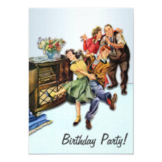 Personalised Sock Hop Birthday Party Retro 13 Cm X 18 Cm Invitation Card