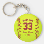 Personalised Softball Team Basic Round Button Key Ring