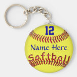 Personalised Softball Team Gift Ideas, NAME NUMBER Basic Round Button Key Ring