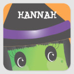 Personalised Spooky Cute Witch Halloween Sticker