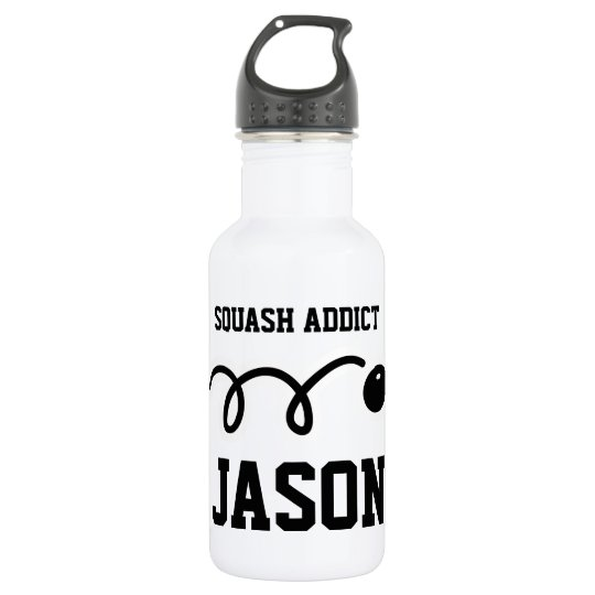 Personalised sports water bottle for squash player