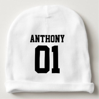 Personalised Sporty, First birthday party Baby Beanie