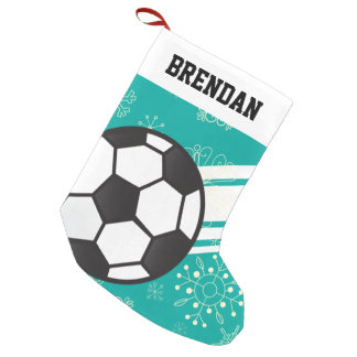 Personalised Sporty Stripes Soccer Ball Teal Blue Small Christmas Stocking