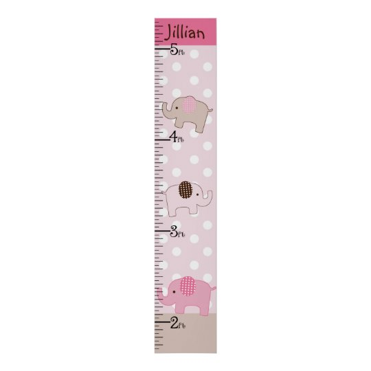 Personalised Stacked Pink Elephants Growth Chart Poster
