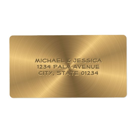 Personalised Stainless Steel Gold Metallic Radial Shipping Label