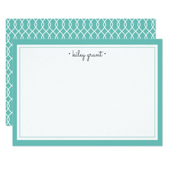 Personalised Stationery Flat Card | Turquoise