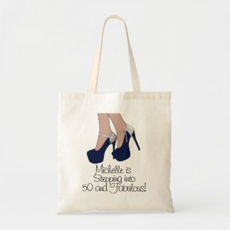 Personalised Stepping into 50 and Fabulous Party Tote Bag