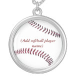Personalised Sterling Girls Softball Necklace