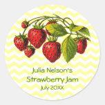 Personalised Strawberry Jam Jar Label Round Sticker