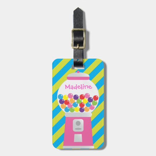 Personalised Striped Gumball Machine Luggage Tag