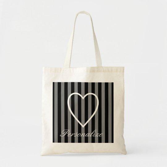 Personalised striped heart bridesmaid tote bag
