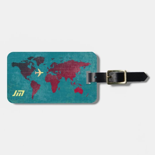personalised & stylish, world map air travel luggage
