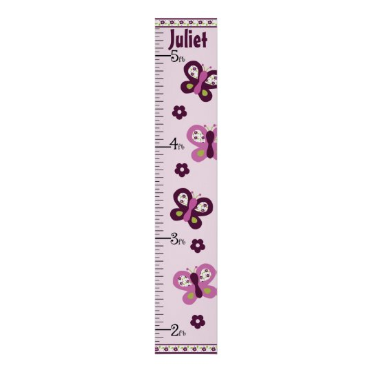 Personalised Sugar Plum Butterfly Growth Chart Poster
