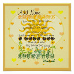 Personalised Sunshine with Hearts Poster