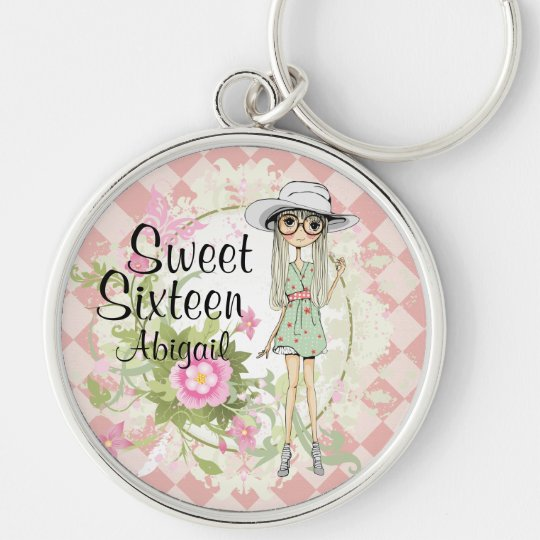Personalised Sweet 16 Cool Girl Flowers Keychain