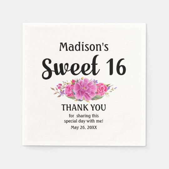 Personalised Sweet 16 Pink Floral Sweet Sixteen Paper Napkin