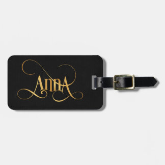 Personalised Swirly Script Anna Gold on Black Luggage Tag