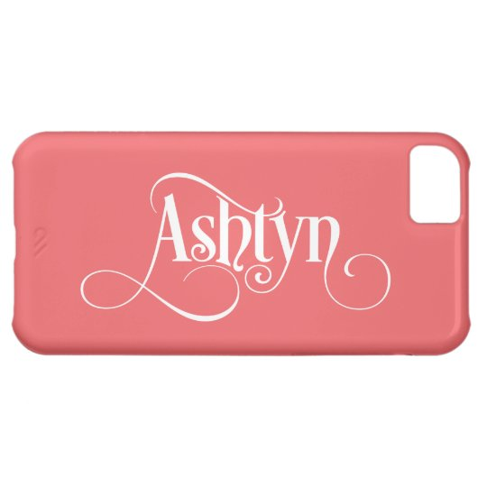 personalised Swirly Script Ashtyn White on Pink iPhone