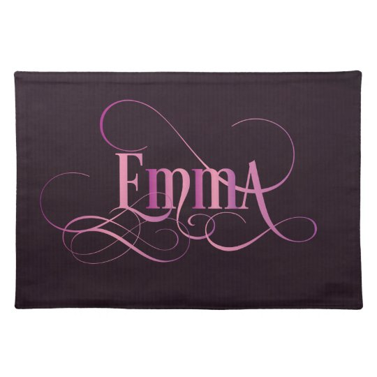 Personalised Swirly Script Emma Pink on Purple Place Mats