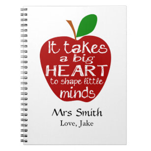 Personalised Teacher Apple thank you notebook