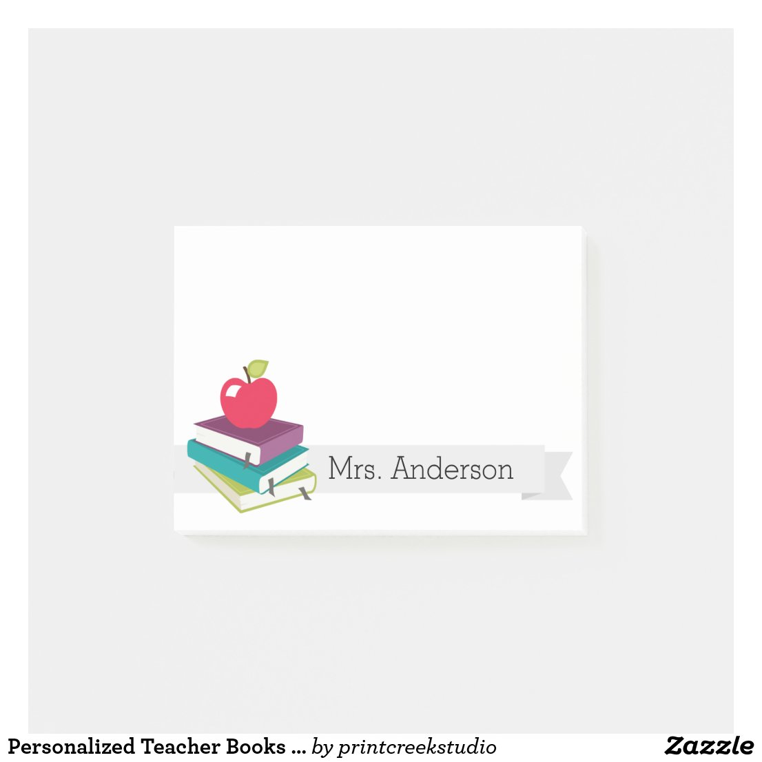 Personalised Teacher Books Apple Post-It Notes