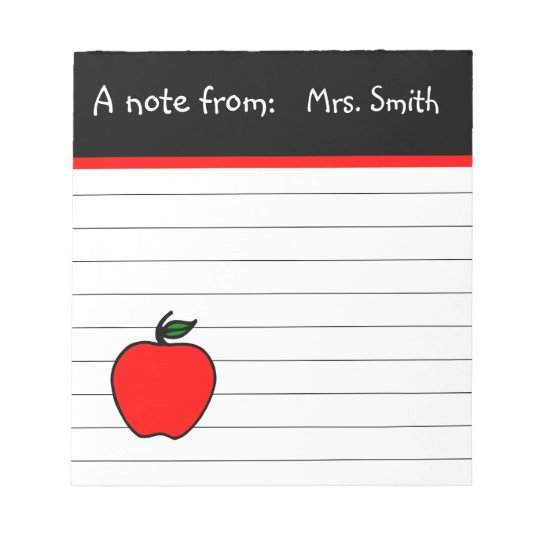 Personalised Teacher's Apple Notepad Gift