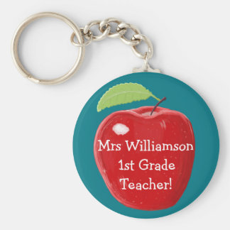 Personalised Teacher's Apple Painting Basic Round Button Key Ring