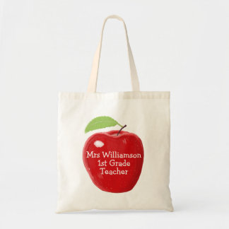 Personalised Teacher's Apple Painting Budget Tote Bag