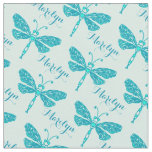 Personalised teal aqua name dragonfly ink pattern fabric
