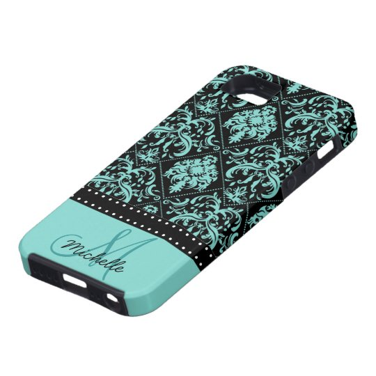 Personalised Teal Blue & Black Damask iPhone 5 Cases