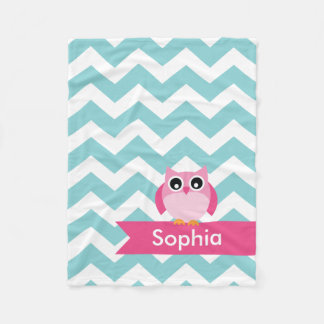 Personalised Teal Chevron Pink Owl Fleece Blanket